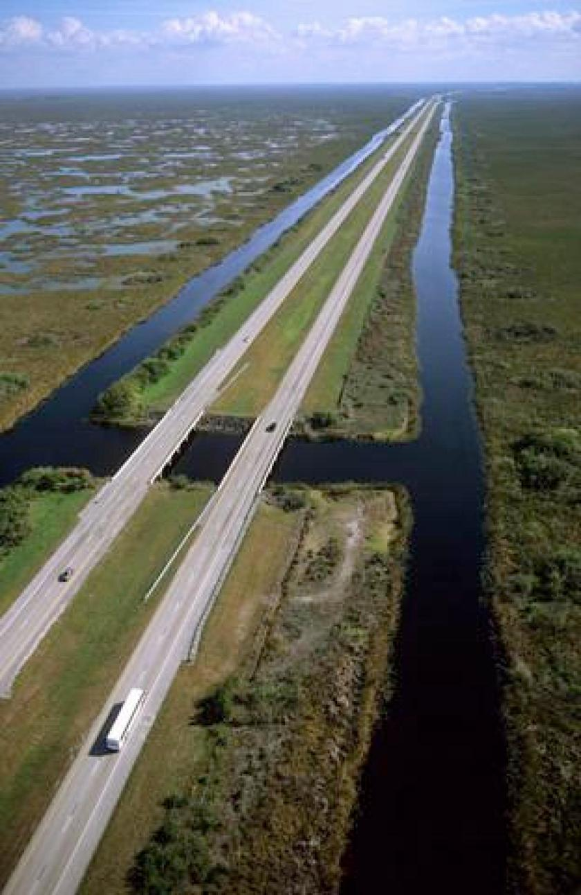 "Interstate 75 and ""Alligator Alley"" in the Florida Everglades"